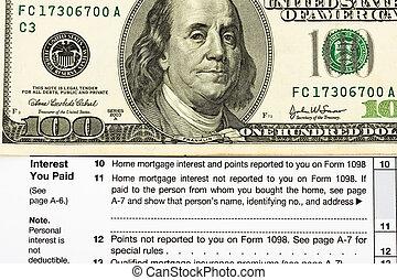federal, impuesto forma, para, artículos, deducciones