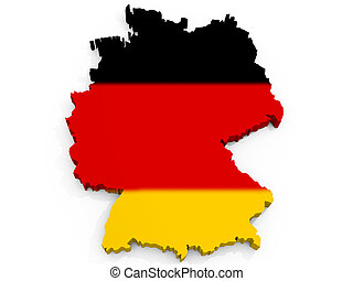 federal, kort, flag, republik, tyskland