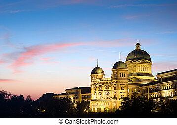 federal, palacio, de, suiza, por la noche