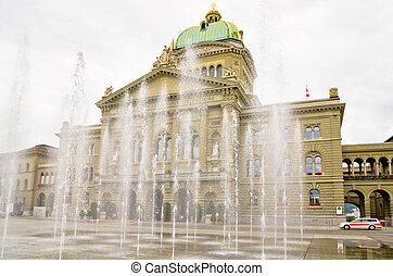 Federal Parliament. Bern, Switzerland - Fountain in front of...