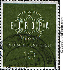 Europa - FEDERAL REPUBLIC OF GERMANY - CIRCA 1959: A stamp...