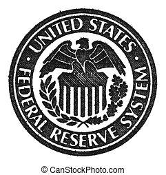 federal, reserva, sistema, símbolo.