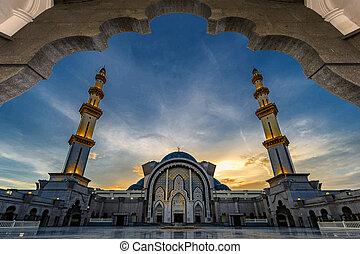 Federal Territory Mosque in named Masjid Wilayah Persekutuan, at night, Kuala Lumpur, Malaysia