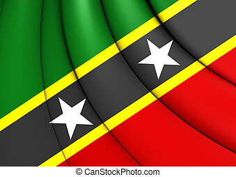 Federation of Saint Kitts and Nevis Flag. Close Up.