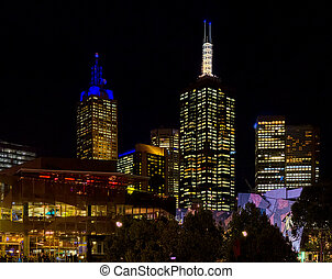 Federation square in Melbourne at night