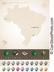 Federative Republic of Brazil and North America Maps, plus extra set of isometric icons & cartography symbols set (part of the World Maps Set) Vector artwork set saved as an EPS version 10 with some transparent objects (some shadows in the background).