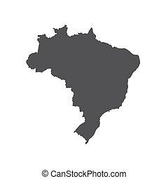 Federative Republic of Brazil map silhouette. Vector illustration