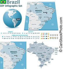 Set of the political Brazil maps, markers and symbols for infographic