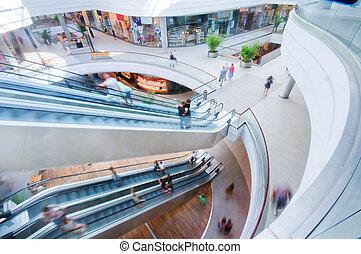 fedett sétány, modern, bevásárlás