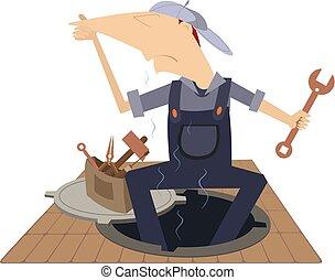 fedor, trabalhando, isolado, esgoto, manhole, mecânico