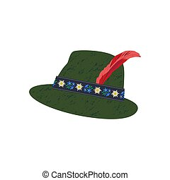 Fedora Felt Hat with Edelweiss on ribbon and Feather -...