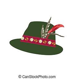 fedora, fieltro, sombrero, con, edelweiss, en, cinta, y,...