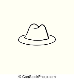 Fedora hat hand drawn sketch icon.