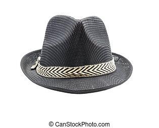 Black fedora hat isolated on white background