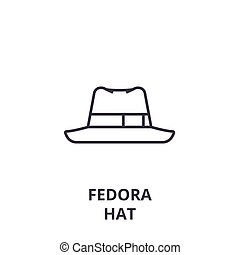 fedora hat line icon, outline sign, linear symbol, vector,...