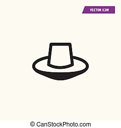 Fedora hat sketch icon.