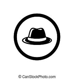 Fedora Hat Symbol, and Circle Outline, Icon Concept, Vector...