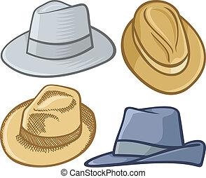 Fedora hats - Four fedora hat illustrations isolated on...
