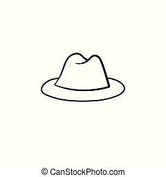 bbaae3aa0 Rys, kowboj, ręka, western, pociągnięty, icon., kapelusz. Rys, szkic ...