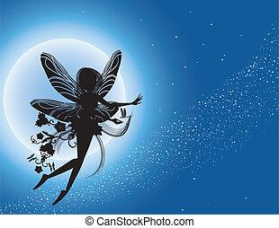 fee, fliegendes, silhouette