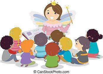 fee, kinder, stickman, godmother, storytelling