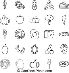 Feed icons set, outline style