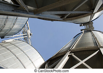 feed Mill - Photo of a big industrial feed mill where grain...