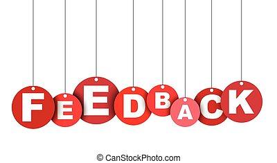 feedback., 網, ベクトル, これ, 旗, 井戸, 隔離された, イラスト, 要素, タグ, 容易である, 円, adapted, 赤, design.