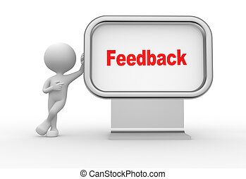 Feedback - 3d people - man, person with advertising ...