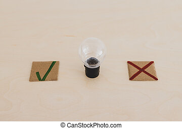 feedback about good and bad ideas, lightbulb with green tick and red cross