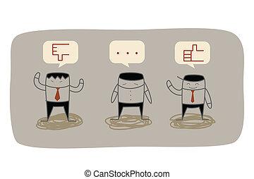 feedback, affär, marknadsföra, fråga, forska, man
