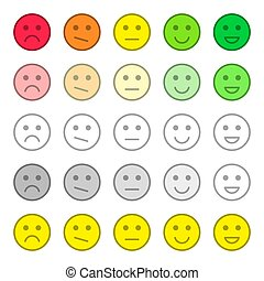 Feedback and rating satisfaction. Customer service quality review. Collection of smiles, various emotions. Beautiful flat icons.