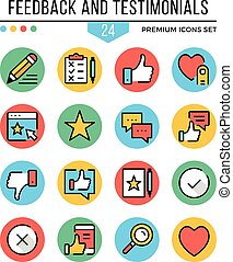 Feedback and testimonials icons. Modern thin line icons set. Premium quality. Outline symbols, graphic concepts, flat line icons. Vector illustration