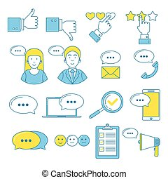 Feedback and user testimonials line icons set. User...