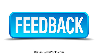 feedback blue 3d realistic square isolated button