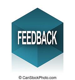 feedback blue cube icon, modern design web element