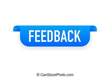 Feedback blue label with white background. Vector illustration.