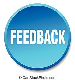 feedback blue round flat isolated push button