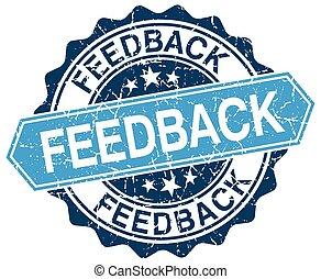 feedback blue round grunge stamp on white