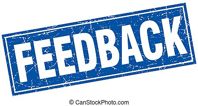 feedback blue square grunge stamp on white