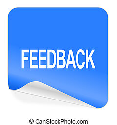 feedback blue sticker icon