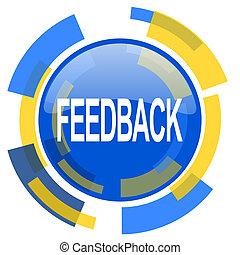 feedback blue yellow glossy web icon