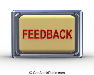 Feedback button - 3d Illustration of shiny feedback button