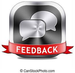 feedback button - feedback or testimonials icon or button. ...