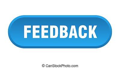 feedback button. feedback rounded blue sign. feedback