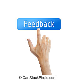 Feedback button with real hand isolated on white background