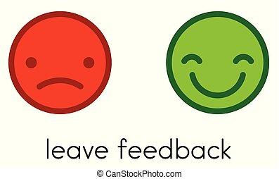 feedback., buttons., kleur, positief, negatief, verlof, smileys
