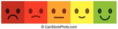 feedback., buttons., kleurrijke, verlof, smileys, schub, stemming