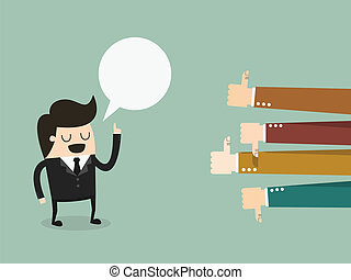 Feedback, businessman talking and positive and negative...