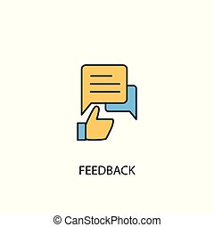 feedback concept 2 colored line icon. Simple yellow and blue element illustration. feedback concept outline design